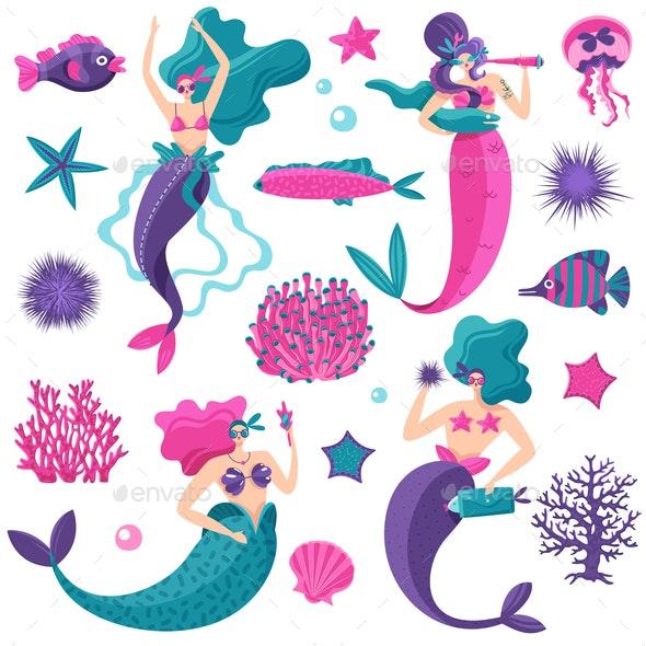 Mermaids Sea Life Set - Seasons/Holidays Conceptual