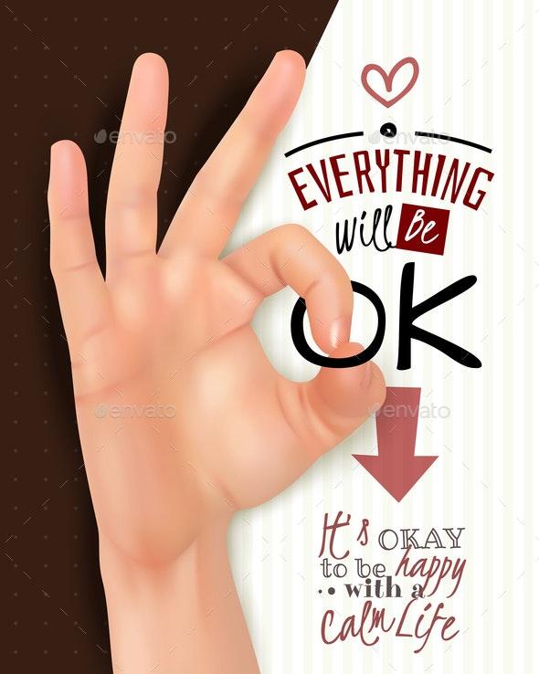 Hand Gesture OK Realistic - Miscellaneous Vectors
