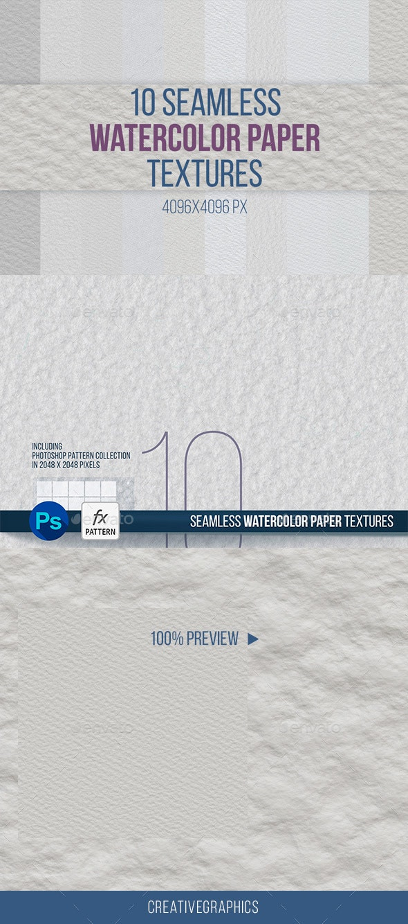 10 Seamless Watercolor Paper Texture - Art Textures