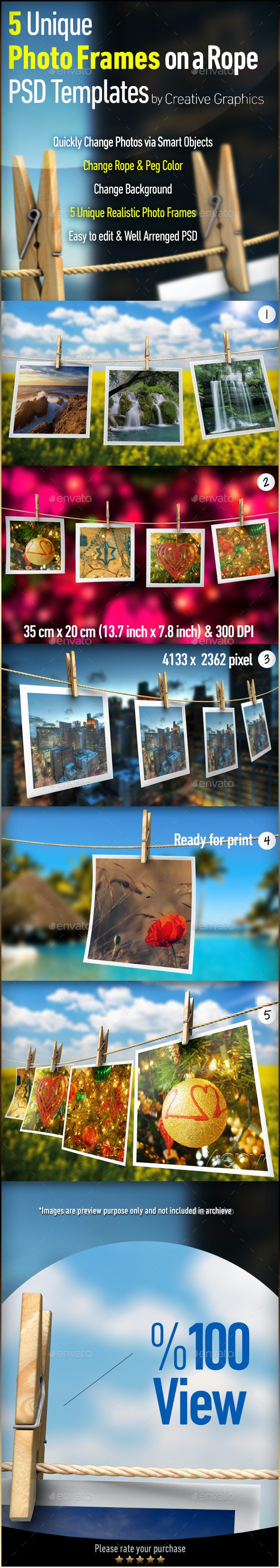 Photo-Image Frames on a Rope Photoshop Mock-ups - Miscellaneous Displays
