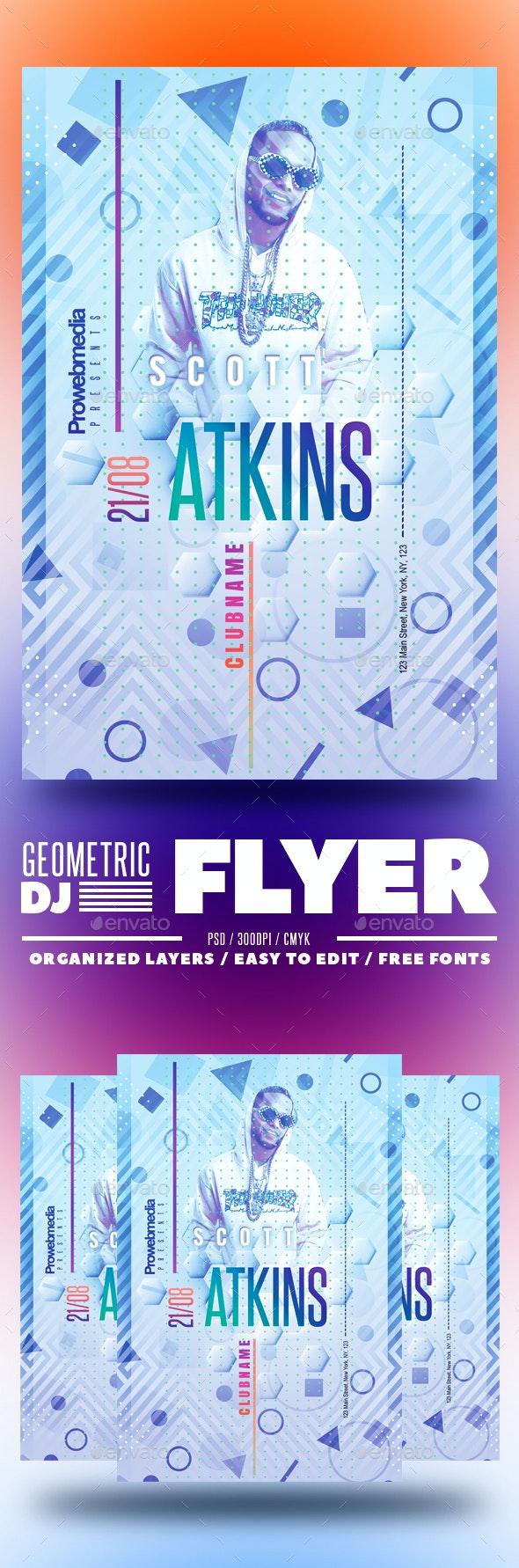 Geometric DJ Flyer - Clubs & Parties Events