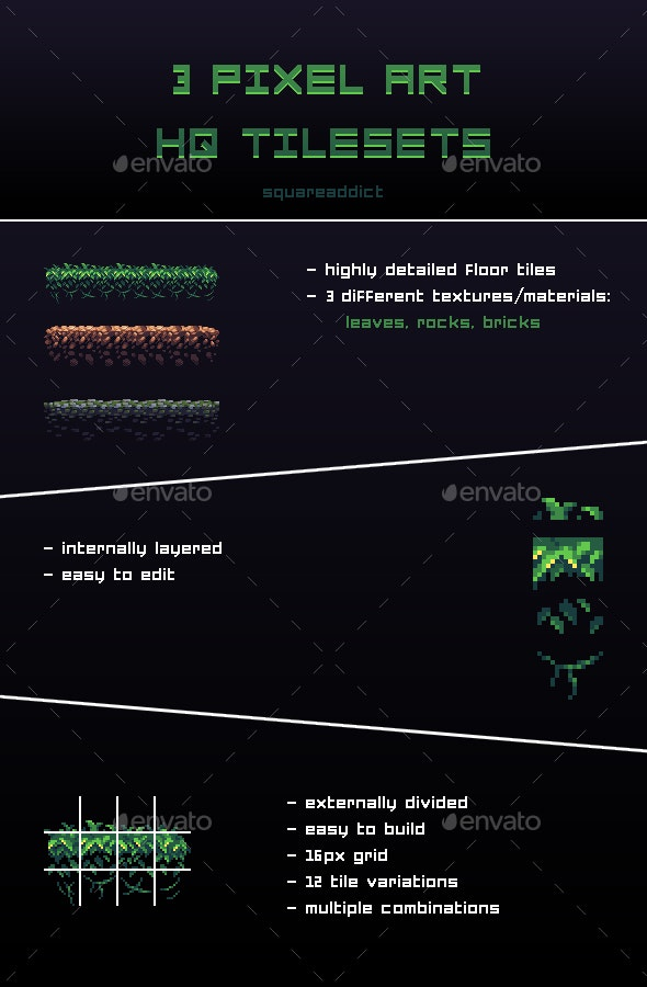3 Pixel Art HQ Tilesets - Tilesets Game Assets