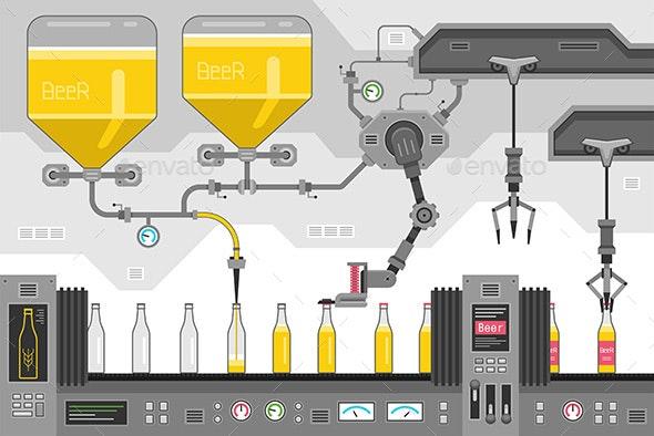Beer Bottles on the Conveyor - Industries Business