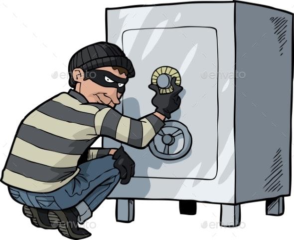 Cartoon Doodle Safecracker - Miscellaneous Vectors