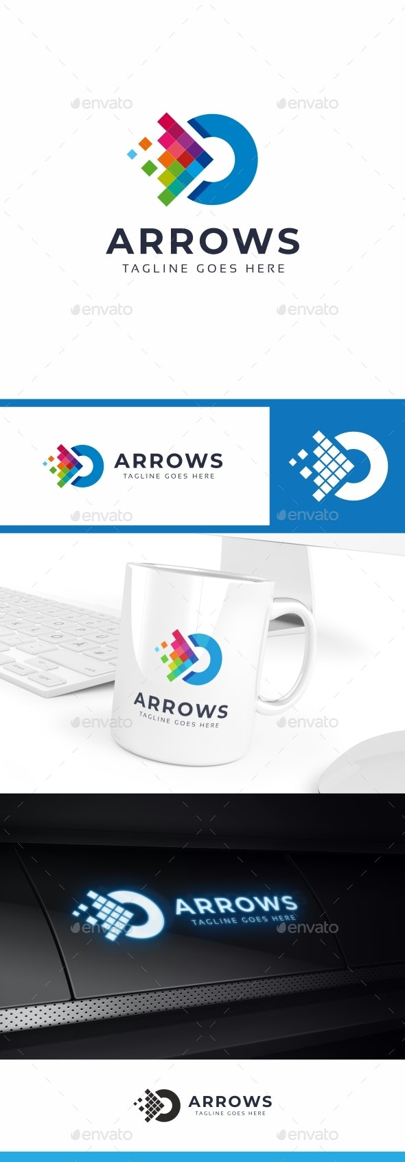 Arrows Pixel Logo - Symbols Logo Templates