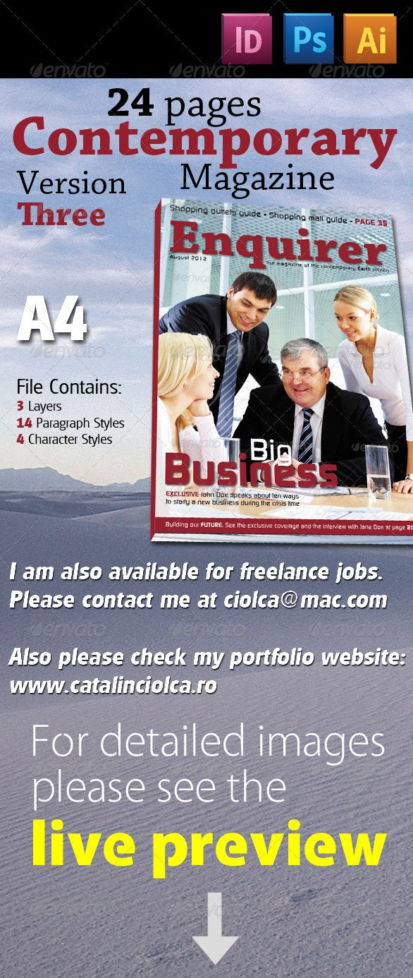 24 Pages Contemporary Magazine Version Three - Magazines Print Templates