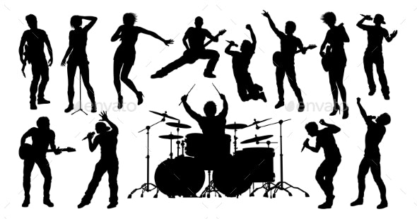 Silhouettes Rock or Pop Band Musicians - People Characters