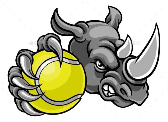 Rhino Tennis Ball Sports Mascot - Sports/Activity Conceptual