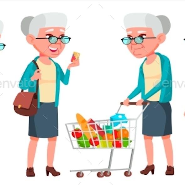 Old Woman Poses Set Vector. Elderly People. Senior
