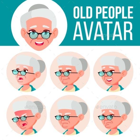 Old Woman Avatar Set Vector. Face Emotions. Senior