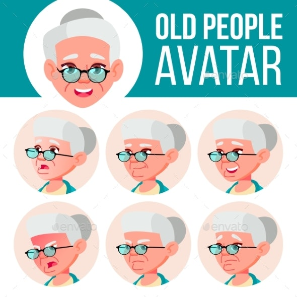 Old Woman Avatar Set Vector. Face Emotions. Senior - People Characters