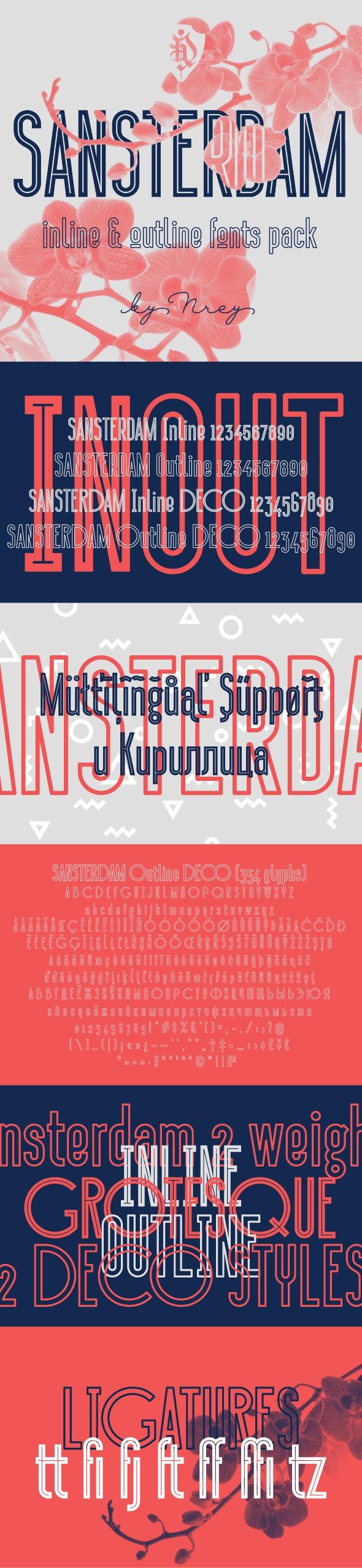 Sansterdam Inline & Outline - Condensed Sans-Serif