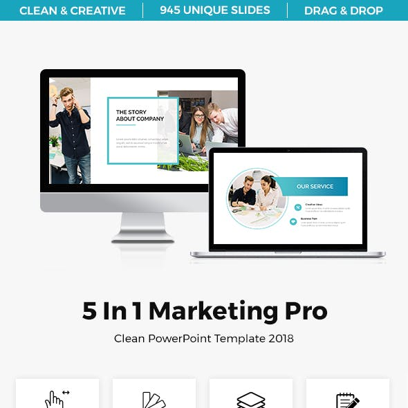 5 In 1 Marketing Pro Powerpoint Template Bundle 2018