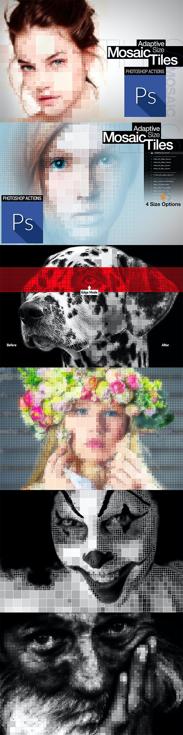 Adaptive Size Mosaic Tiles Photoshop Actions - Photo Effects Actions