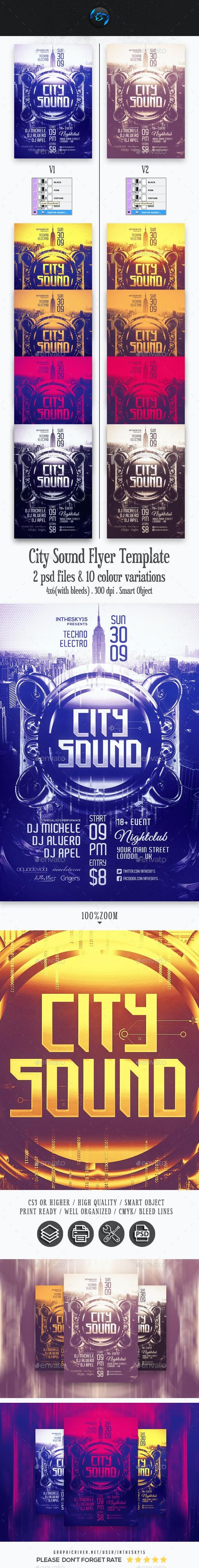 City Sound Flyer Template - Flyers Print Templates