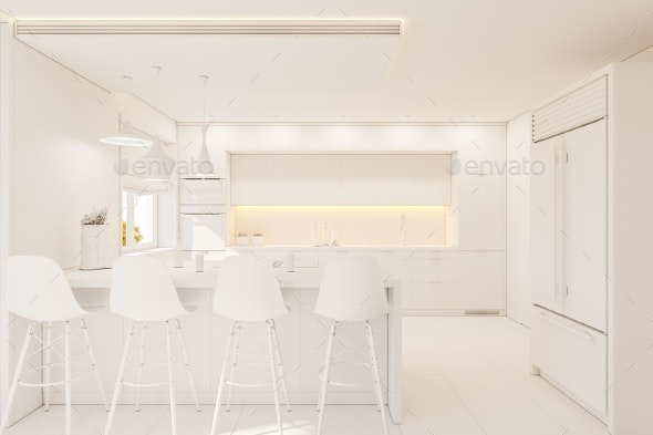 3d Illustration Kitchen Interior Design in White - Objects 3D Renders