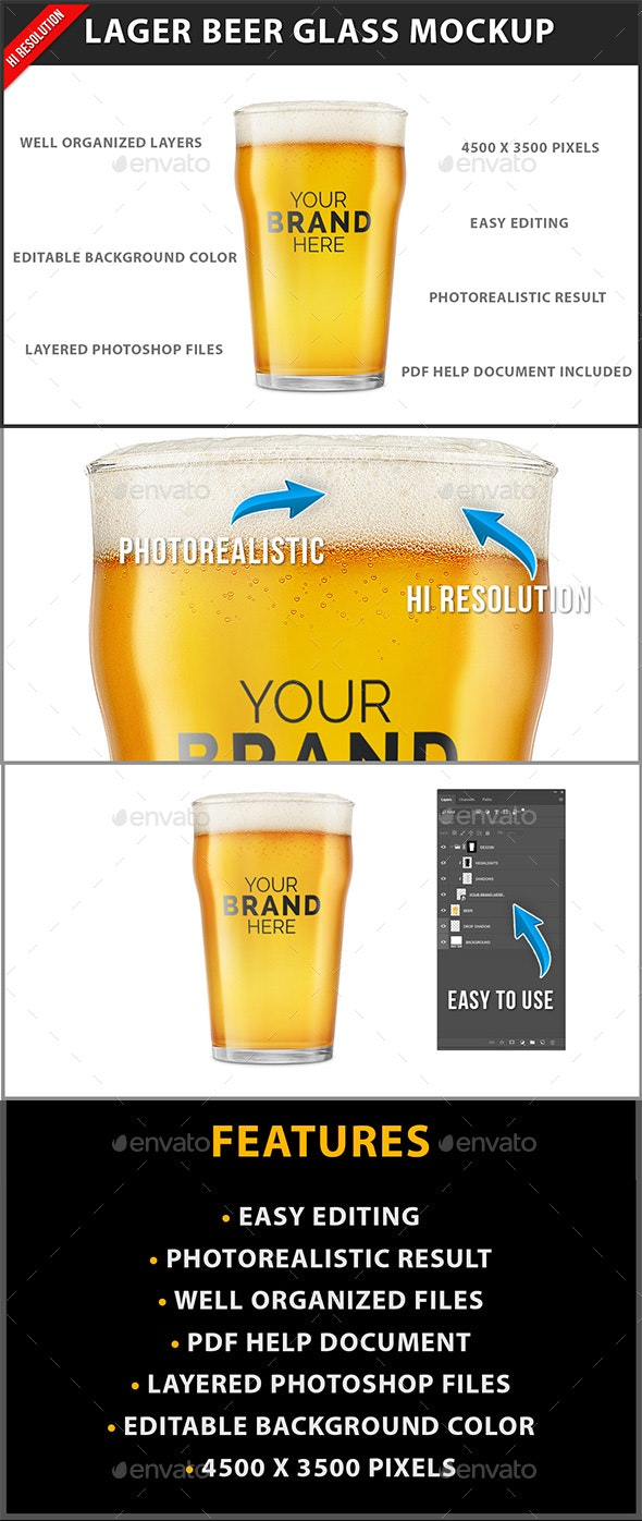 Lager Beer Glass Mockup - Product Mock-Ups Graphics