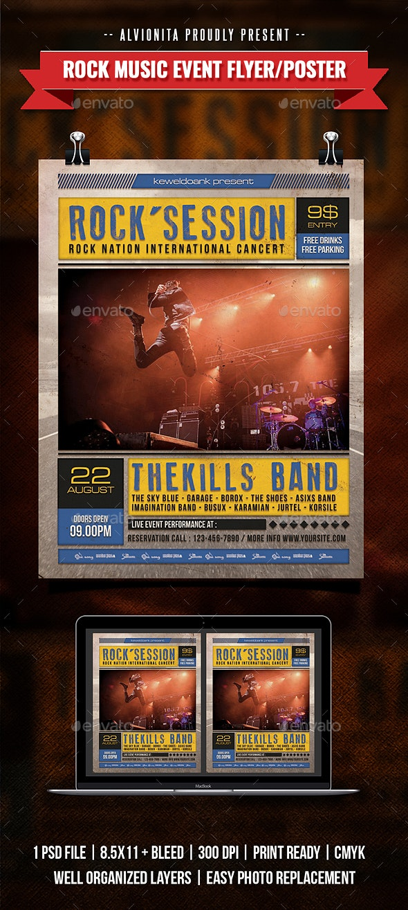 Rock Music Event Flyer / Poster - Concerts Events