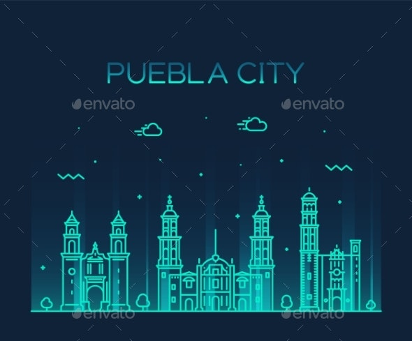 Puebla City Skyline Puebla Mexico Vector Linear - Buildings Objects