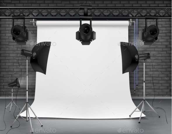 Vector Empty Photo Studio with Lighting Equipment - Man-made Objects Objects