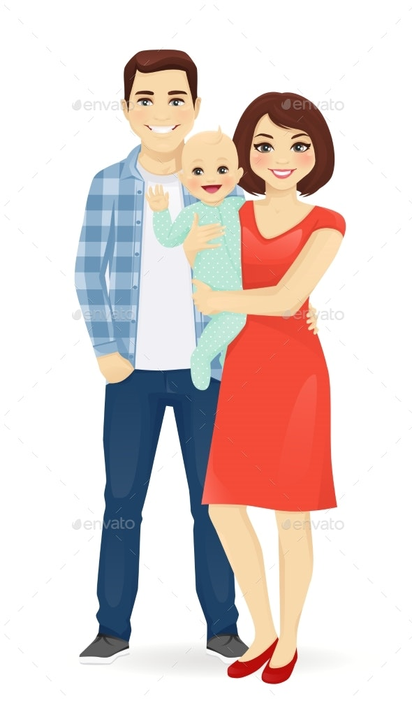 Young Family Portrait - People Characters