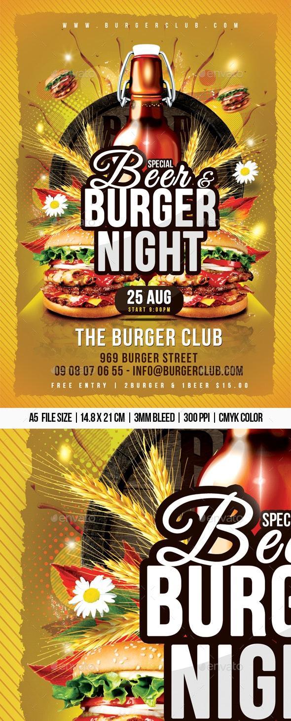 Beer & Burger Night - Restaurant Flyers