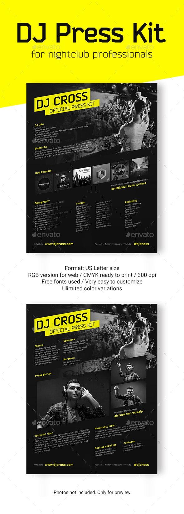 DJ Press Kit / DJ Resume / DJ Rider PSD Template - Resumes Stationery