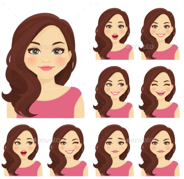 Woman Expression Set - People Characters