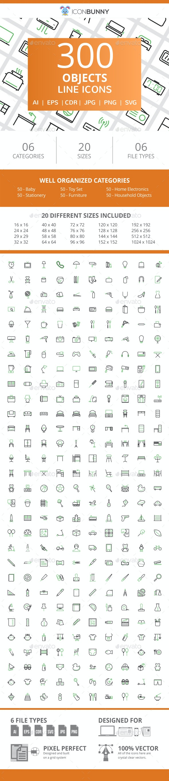 300 Objects Line Green & Black Icons - Icons