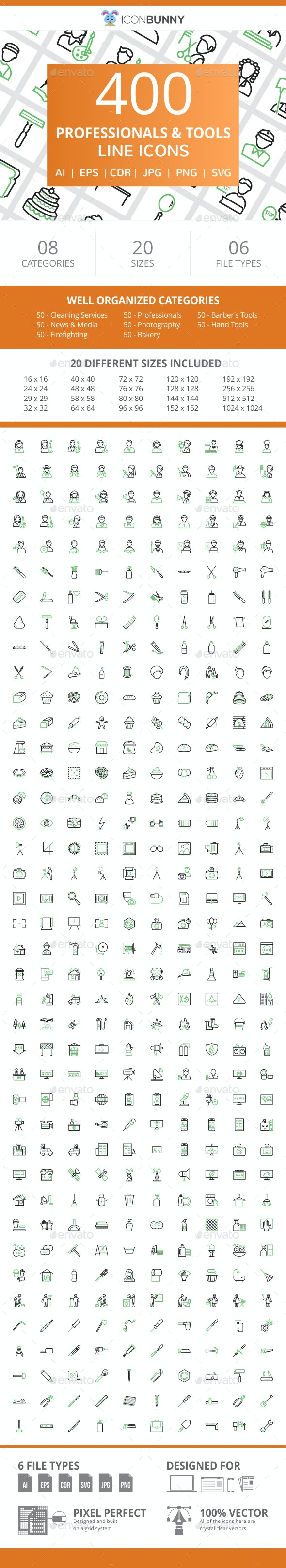 400 Professionals & their tools Line Green & Black Icons - Icons