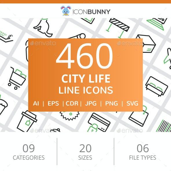 460 City Life Line Green & Black Icons