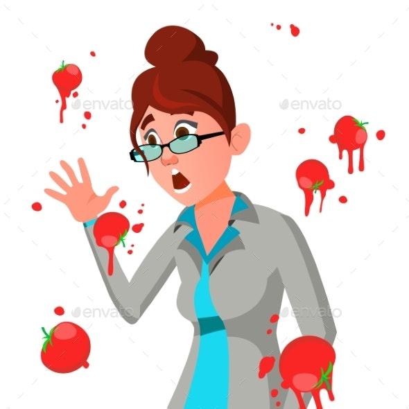 Business Woman Having Tomatoes Fail Speech Vector - Business Conceptual