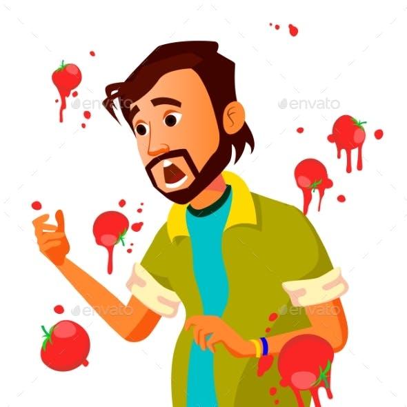 Businessman Having Tomatoes Fail Speech Vector