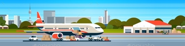 Transport Airplane Express Delivery Preparing - Travel Conceptual