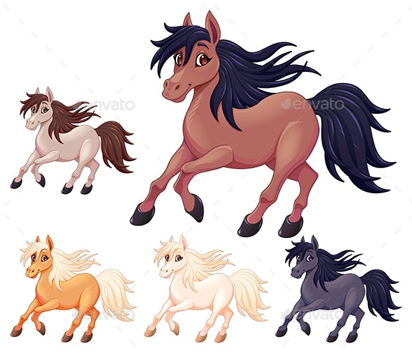 Set of Different Cartoon Horses - Animals Characters