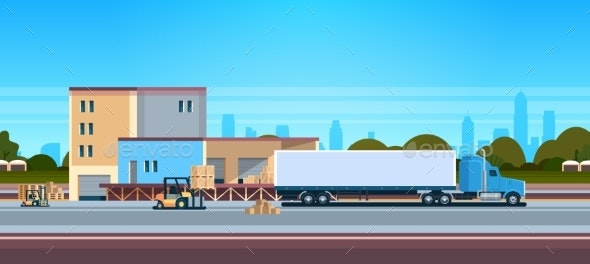 Forklift Unloading Loading Semi Trailer Outdoor - Man-made Objects Objects