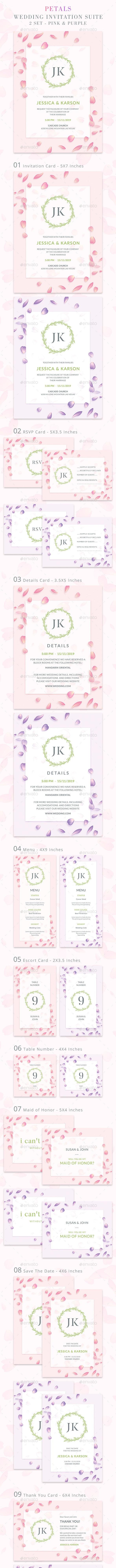 Wedding Invitation Suite - Petals - Weddings Cards & Invites