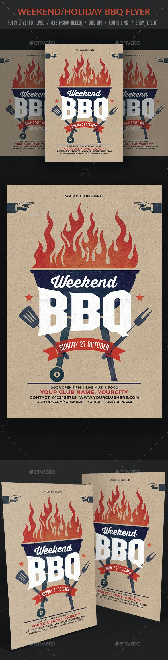 Weekend / Holiday BBQ Party Flyer - Clubs & Parties Events