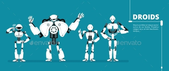 Cartoon Robot Androids - Miscellaneous Vectors