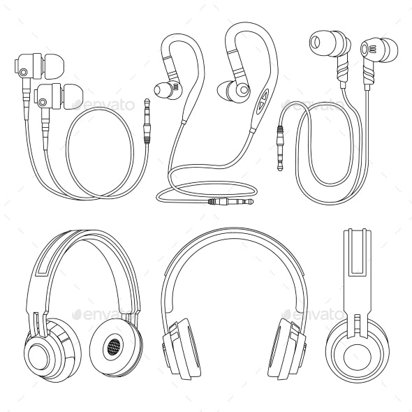 Outline Earphones, Wireless and Corded DJ Music - Man-made Objects Objects