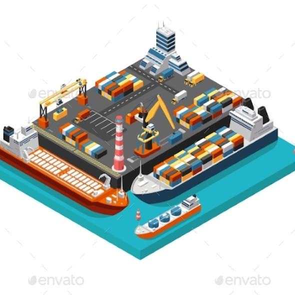 Isometric Seaport Terminal with Cargo Ships