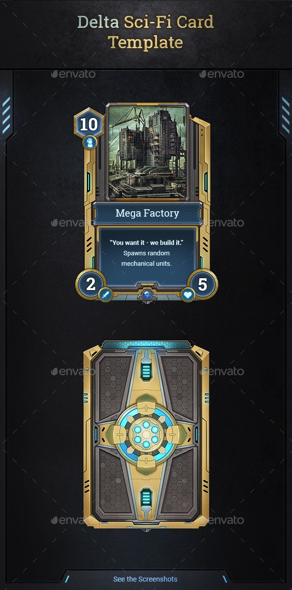 Delta Sci-Fi Card Template - Miscellaneous Game Assets