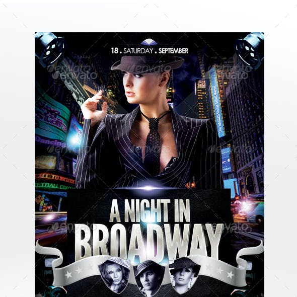 A Night In Broadway Flyer Template