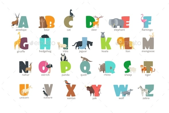 cartoon wild animals kids alphabet for children by microvone graphicriver https graphicriver net item cartoon wild animals kids alphabet for children 22448775