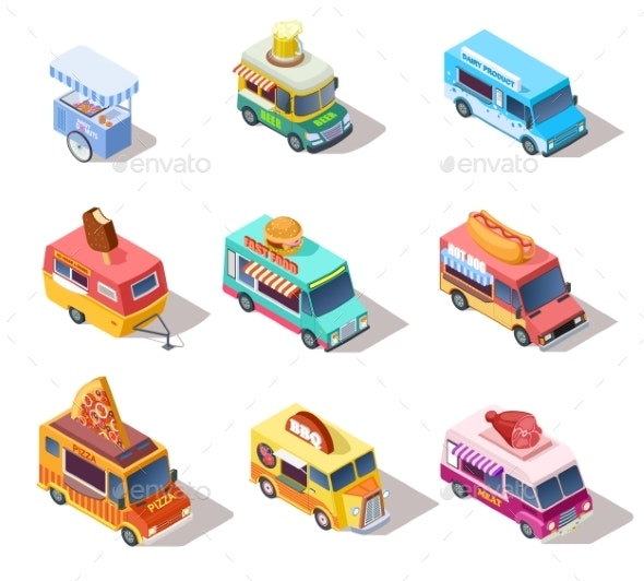 Isometric Street Food Trucks and Carts - Food Objects