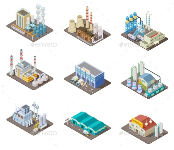 Isometric Factory Set - Buildings Objects