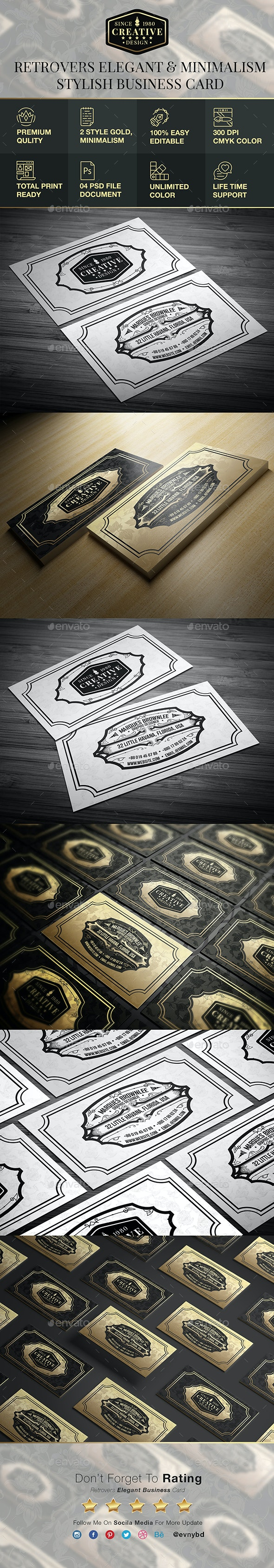 Retrovers Elegant Business Card - Corporate Business Cards