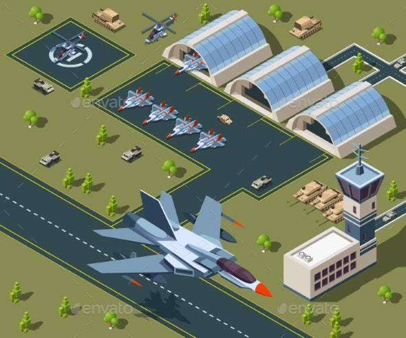 Military Airport Isometric - Man-made Objects Objects