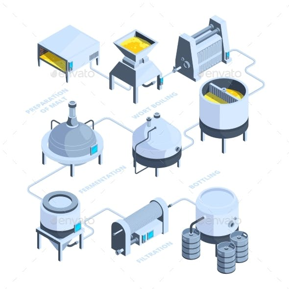 Landscape of Brewery Vector Isometric