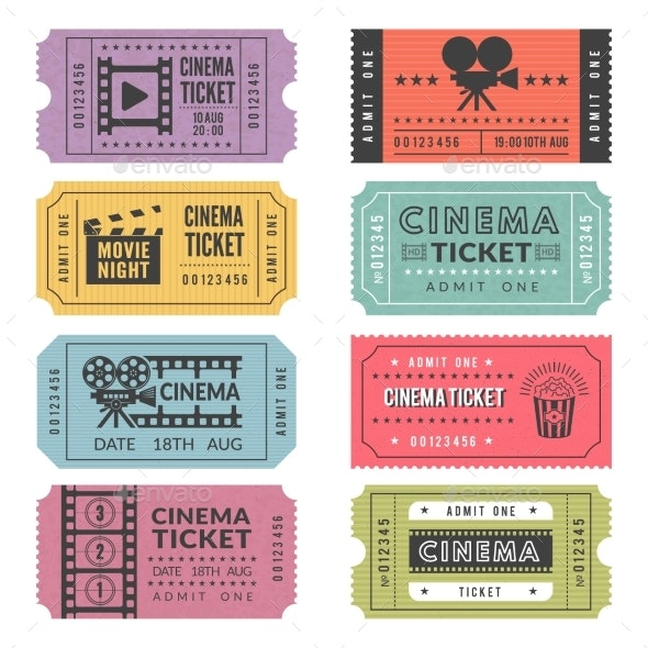 Template of Cinema Tickets - Man-made Objects Objects